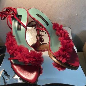 Sergio Rossi Raspberry Flower Tie up Sandals 37.5
